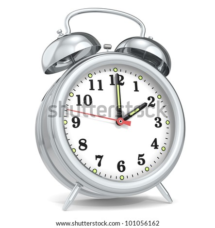 Alarm Clock. Classic alarm clock. Metal. - stock photo