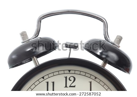 Alarm clock detail isolated on white - stock photo