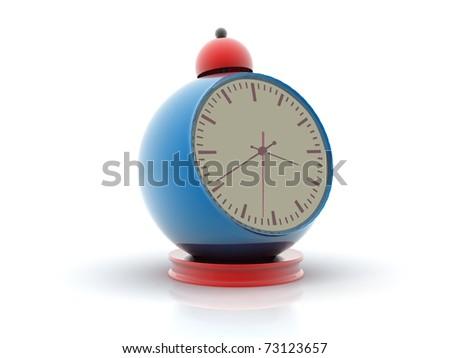 alarm clock Digital illustration of alarm clock in white background   - stock photo