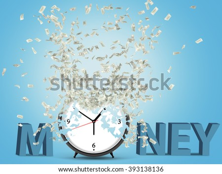 Alarm clock, dollars flying out from it. Blue background. Concept of time is money. 3D rendering - stock photo