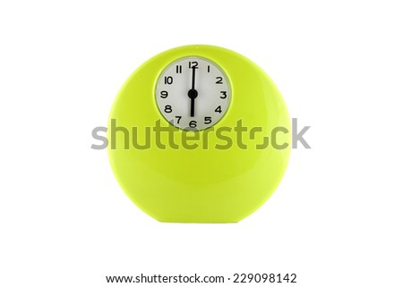 Alarm clock green colour on isolated white background
