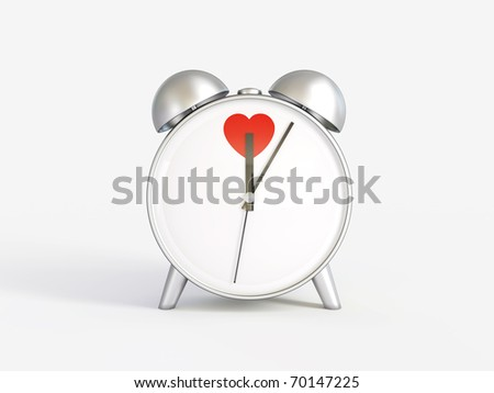 Alarm clock. Hours. Time of love. Valentine's Day. - stock photo