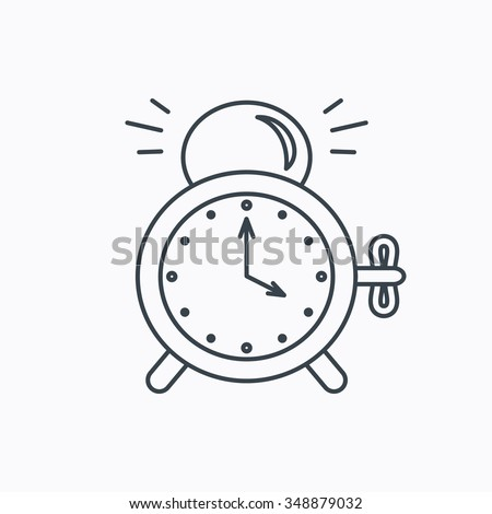 Alarm clock icon. Mechanical retro time sign. Watch with bell symbol. Linear outline icon on white background.