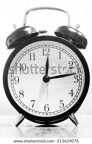 Alarm clock in black and white