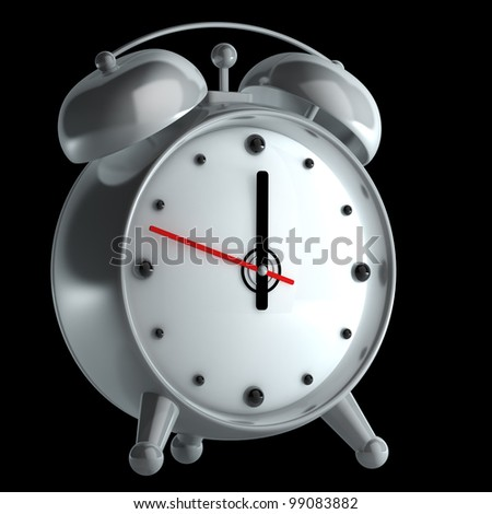 alarm clock isolated on black background High reolution 3d