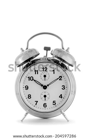 Alarm clock isolated on white background.Studio shot.