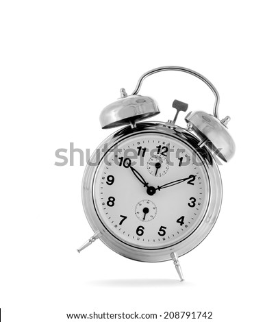 Alarm clock isolated on white background. Studio shot.
