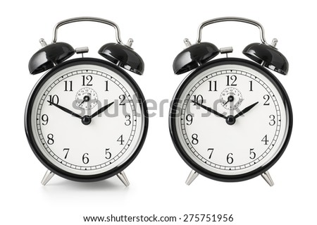 Alarm clock isolated with clipping path included - stock photo
