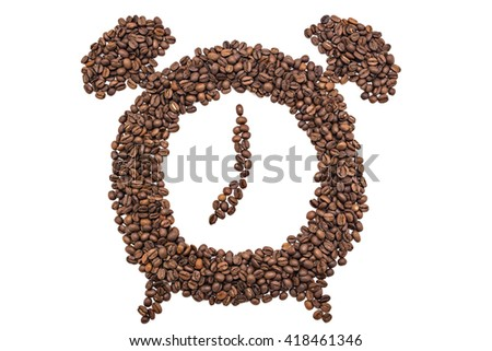 Alarm clock of coffee grains isolated on white background. Coffee beans in clock symbol pointed at seven o'clock - stock photo