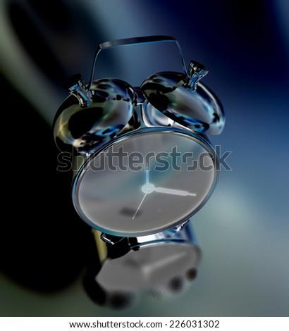 Alarm clock on a black background - stock photo