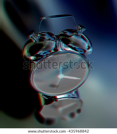 Alarm clock on a black background. 3D illustration. Anaglyph. View with red/cyan glasses to see in 3D.