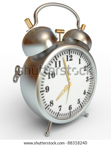 alarm clock, on a white background, 3d render
