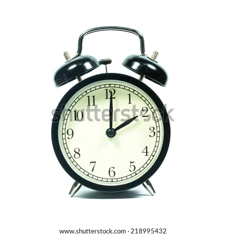 Alarm clock on white background. At 2 .