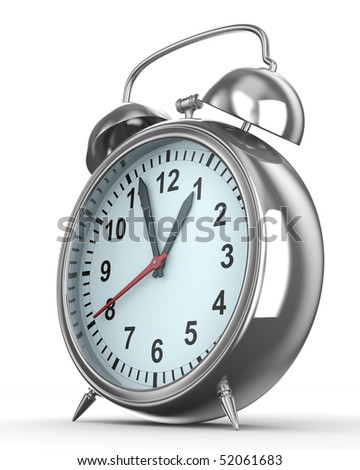 Alarm clock on white background. Isolated 3D image
