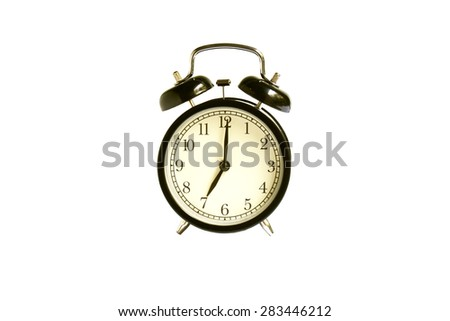 alarm clock on white blackground - stock photo