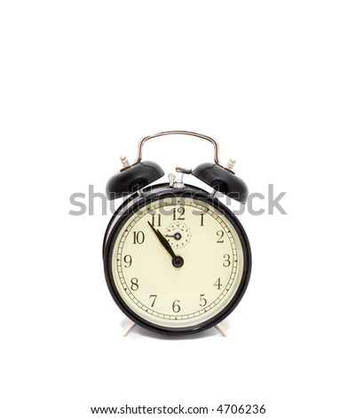 alarm clock over a white background - stock photo
