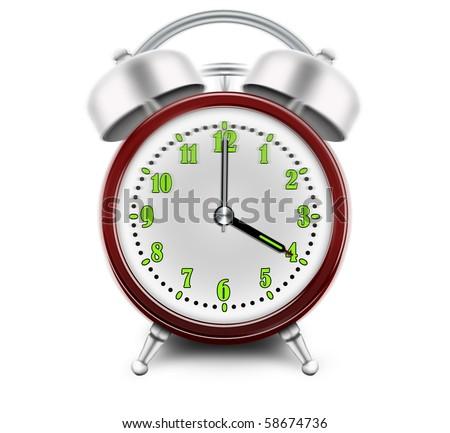 Alarm clock ringing at 4 o'clock - stock photo