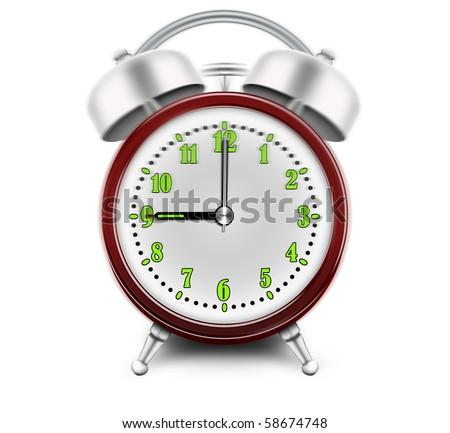 Alarm clock ringing at 9 o'clock - stock photo