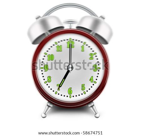 Alarm clock ringing at 7 o'clock - stock photo