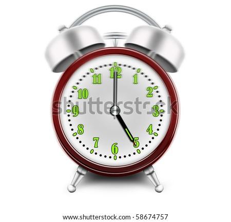 Alarm clock ringing at 5 o'clock - stock photo