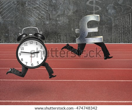 Alarm clock running after pound money symbol, on red track with concrete wall background.