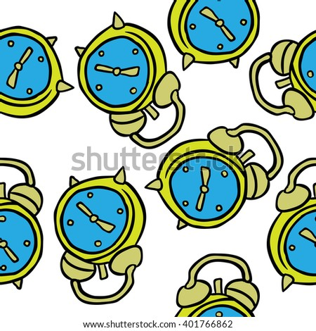alarm clock seamless pattern on white background - stock photo