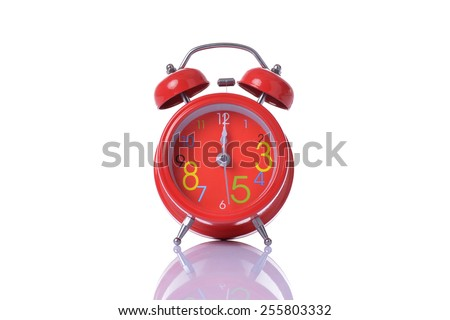alarm clock showing 7 o'clock in the morning or afternoon - stock photo
