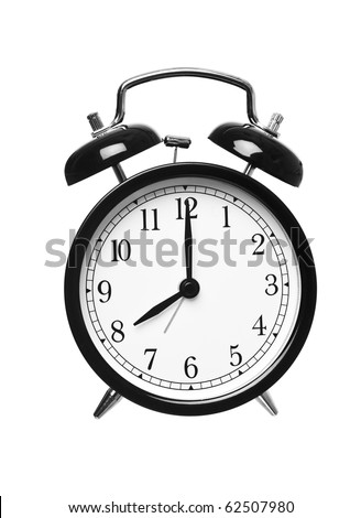 Alarm clock shows eight o`clock isolated on white background