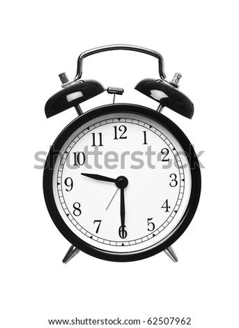 Alarm clock shows half past nine isolated on white background