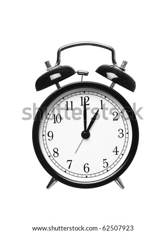 Alarm clock shows one o`clock isolated on white background