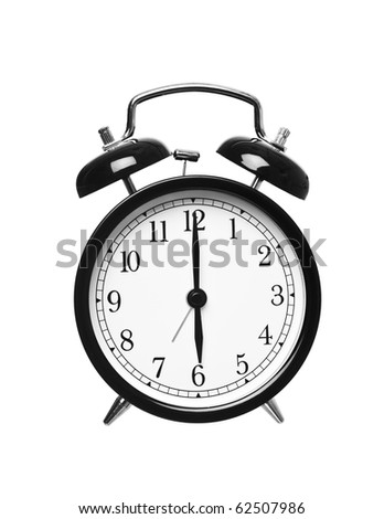 Alarm clock shows six o`clock isolated on white background