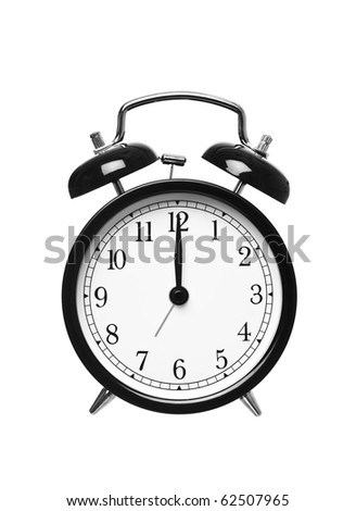 Alarm clock shows Twelve o`clock isolated on white background - stock photo