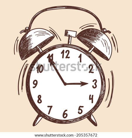 Alarm clock sketch - stock photo
