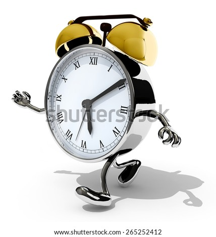 alarm clock with arms and legs running, isolated 3d illustration - stock photo