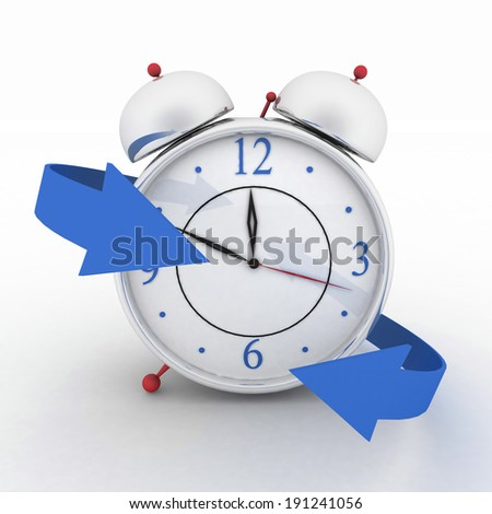 Alarm-clock with blue arrows. 3d isolated icon on white - stock photo