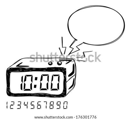 alarm clock with bubble speech - stock photo