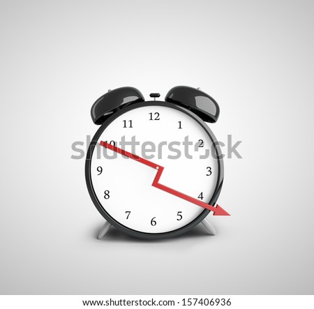 alarm clock with down red arrow