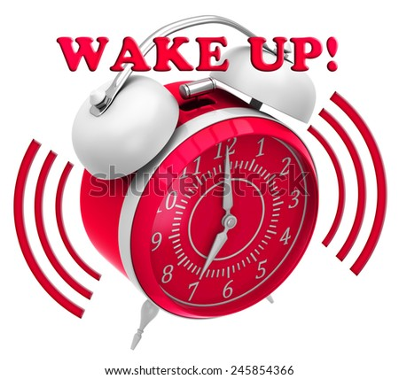 Alarm clock with inscription wake up on a white background - stock photo