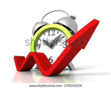 Alarm Clock With Rising Up Growing Arrow. Time Success Concept 3d Render Illustration - stock photo