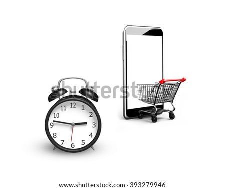 Alarm clock with small shopping cart entering smart phone of white screen, isolated on white, limited time shopping concept. - stock photo