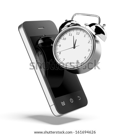 Alarm clock with smartphone - stock photo