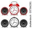 Alarm clock with speakers - stock photo