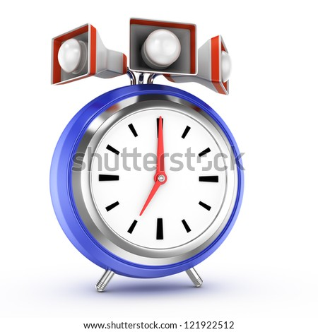 alarm clock with speakers isolated on white background. 3d rendered image