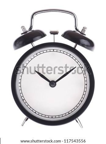 Alarm clock without dial isolated on white background - stock photo