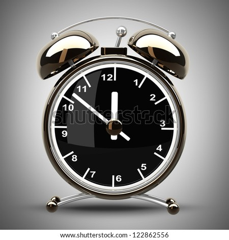 Alarm Golden clock on a gray background. High resolution 3d render - stock photo