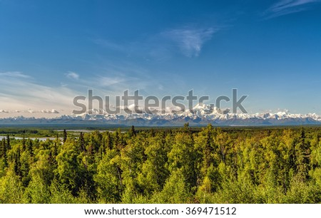 Alaska Denali Park Mount Mc Kinley panorama landscape from Talkeetna - stock photo