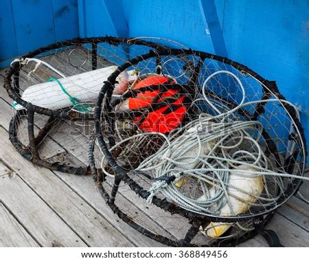 Alaska Fishing Traps/Nets Used in Homer, Alaska - stock photo