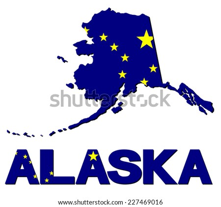 Alaska map flag and text illustration - stock photo