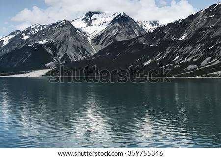 Alaska mountain landscape. Glacier Bay National Park, Alaska - stock photo