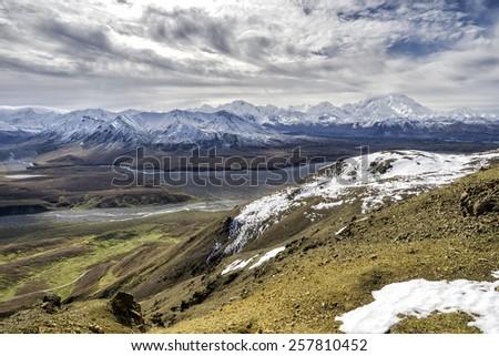 Alaska Mountain View - Deep in Denali Territory - stock photo